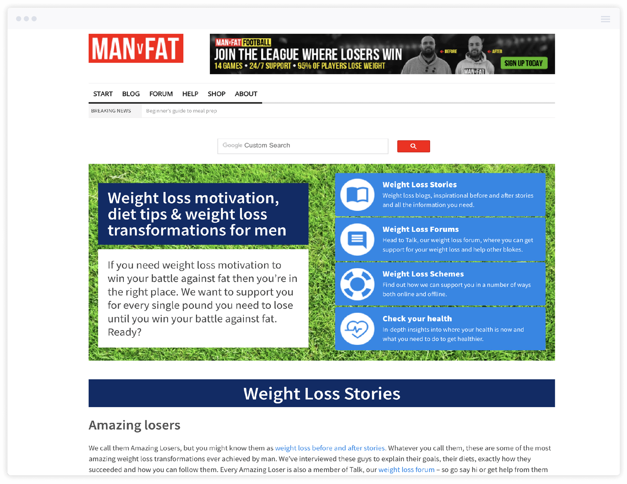 Screenshot of manvfat.com homepage