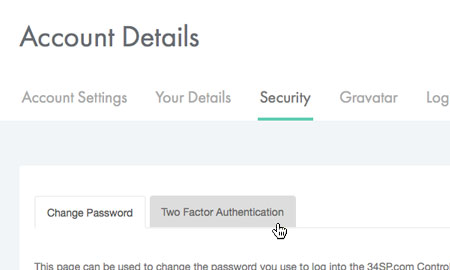 Choose 'Two Factor Authentication'