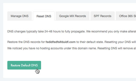 Restore DNS defaults