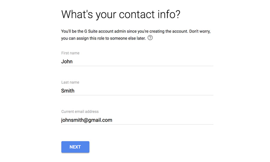 Create a G Suite account