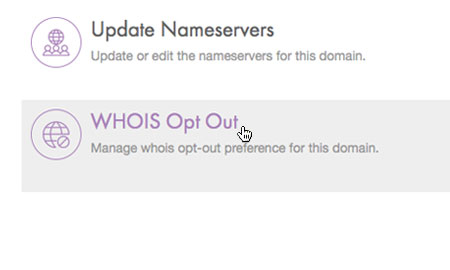 Choose 'WHOIS Opt Out'