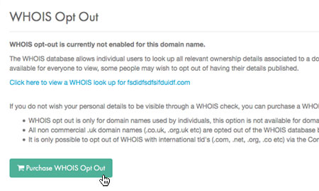 Confirm WHOIS Opt Out