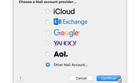 Choose 'Add Another Mail Account...'