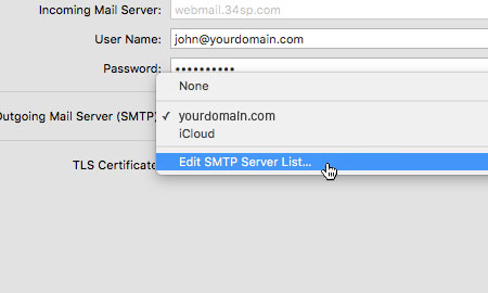 Edit SMTP Server List