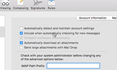 Uncheck 'Automatically detect and maintain account settings'