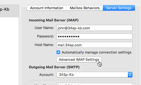 Choose 'Advanced IMAP Settings'