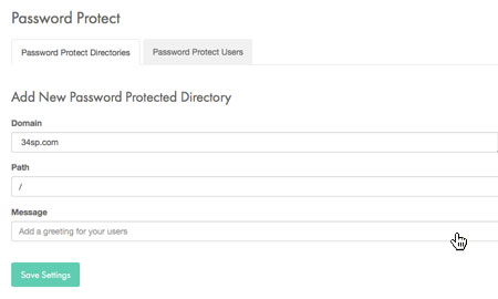 Enter protected directory information