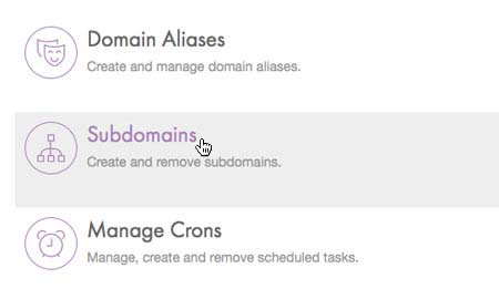 Choose 'Subdomains'
