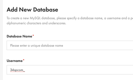 Create new database details