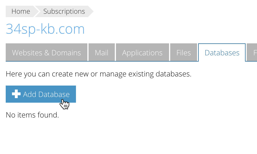 Choose 'Add New Database'