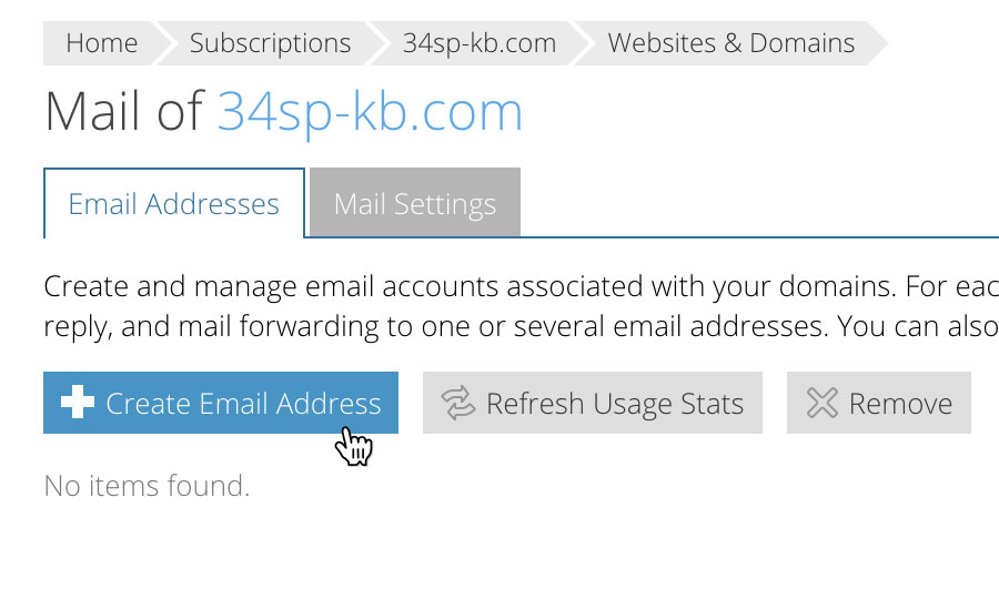 Choose 'Create Email Address'