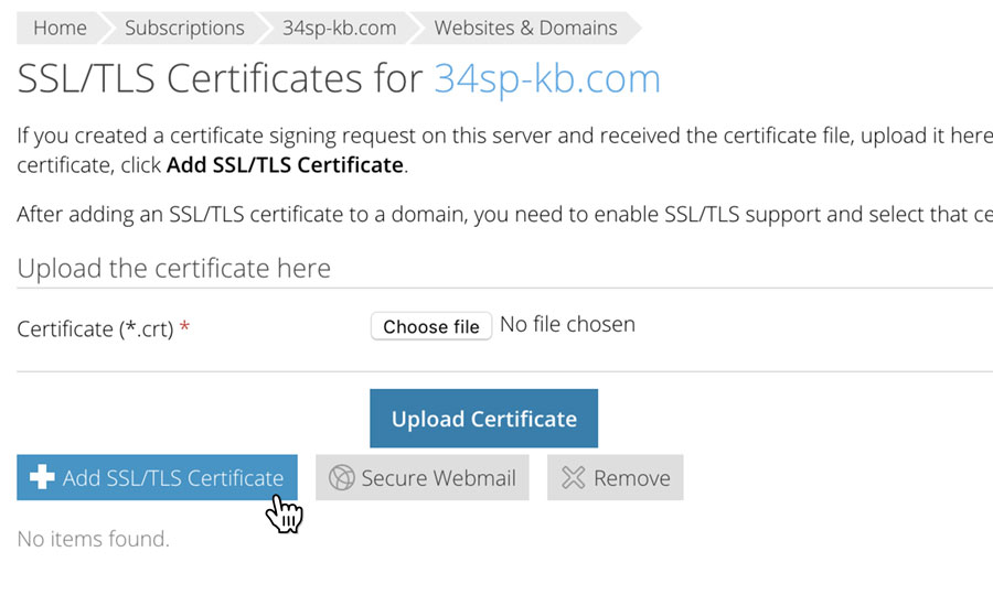 Choose 'Add SSL Certificate'