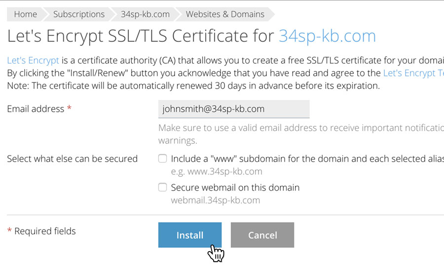 How to install a Lets Encrypt SSL certificate