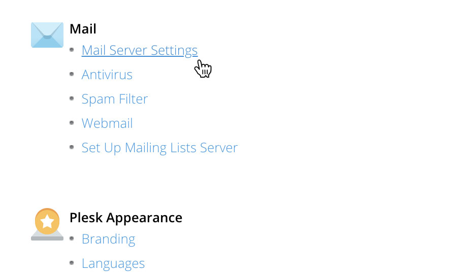 Choose 'Mail Server Settings'