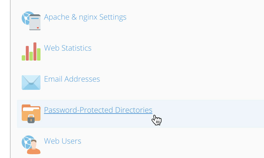 Choose 'Password-Protected Directories'