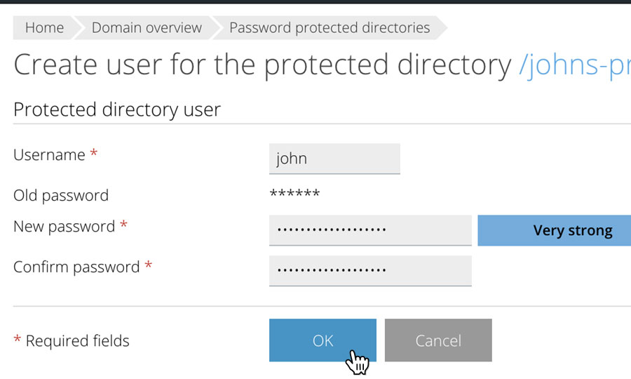 Enter password protected user information