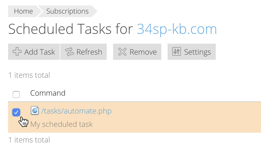 Select a scheduled task