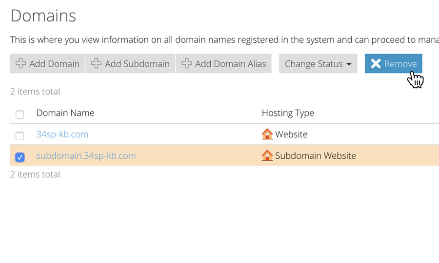 Remove a subdomain