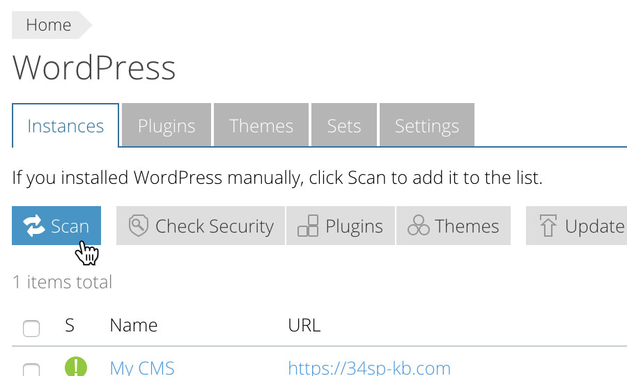 Scan for WordPress sites