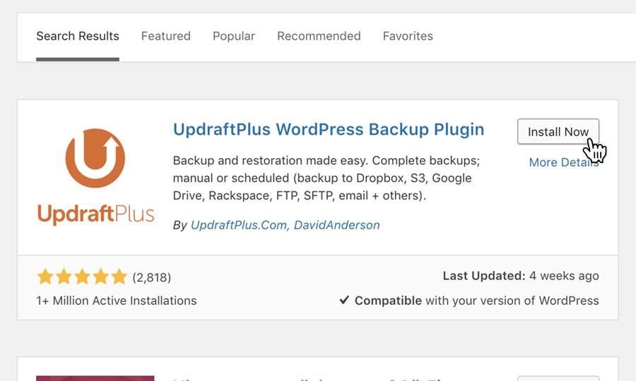 Install 'UpdraftPlus WordPress Backup Plugin'
