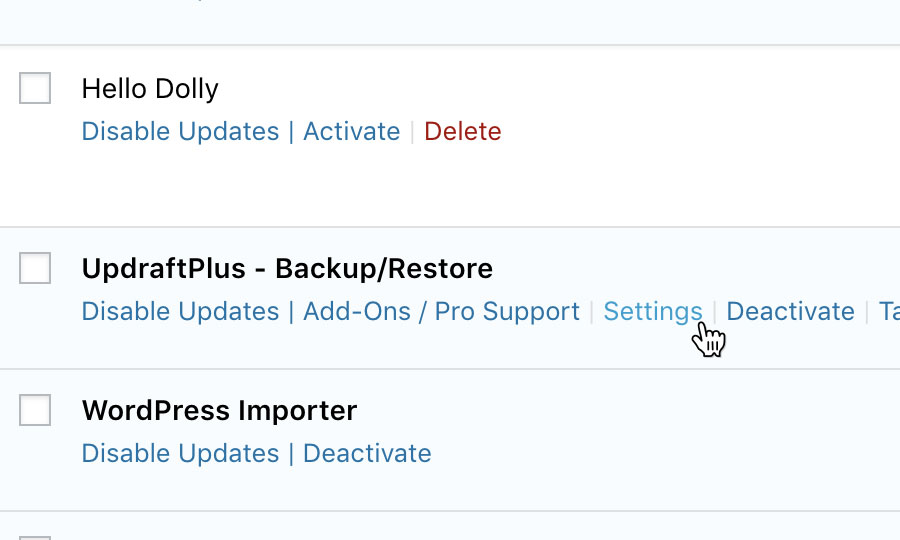 Locate 'UpdraftPlus WordPress Backup Plugin'