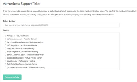 Authenticating a support ticket