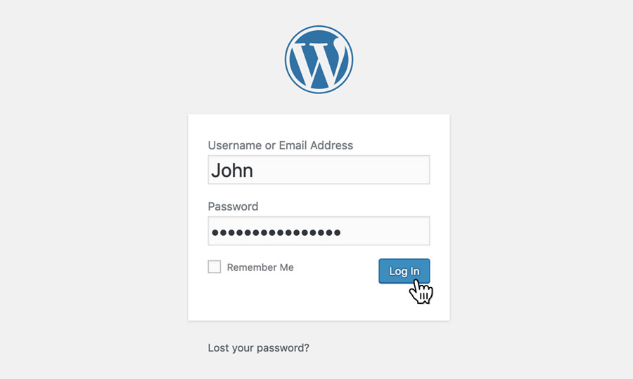 Log in to the WordPress admin area