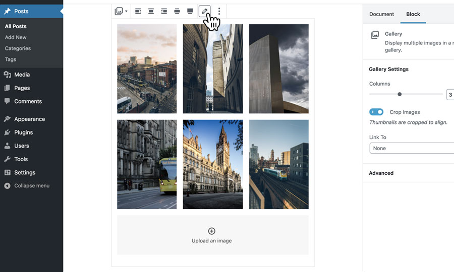 Editing your images gallery