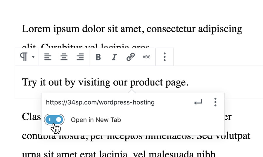 Toggle 'Open in New Tab' on