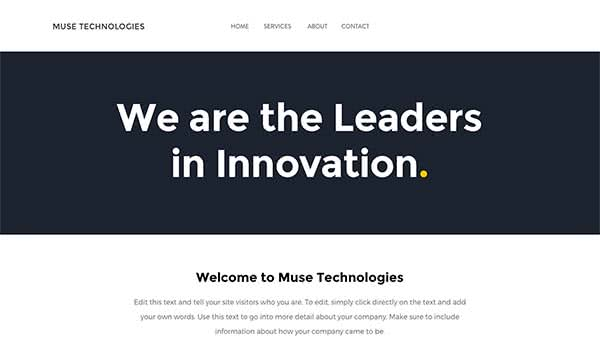 Website Builder template 'Muse Technologies'