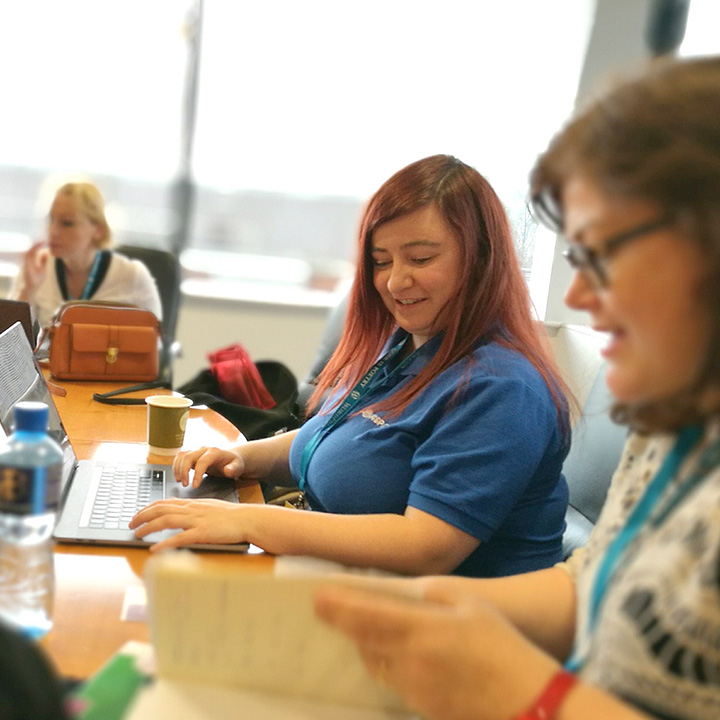 Kayleigh helping out at WordCamp Dublin