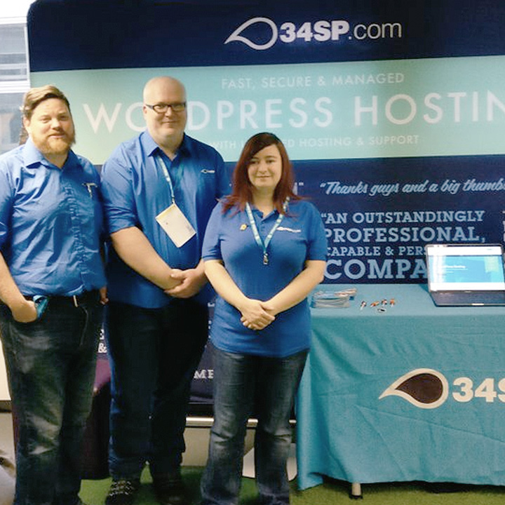 The 34SP.com staff at our stand, at WordCamp Edinburgh